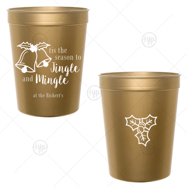 Personalized Red 16 oz Stadium Cup with Matte White Ink Screen Print has a Holiday Bells graphic and a Holly graphic and is good for use in Holiday, Christmas themed parties and can be customized to complement every last detail of your party.