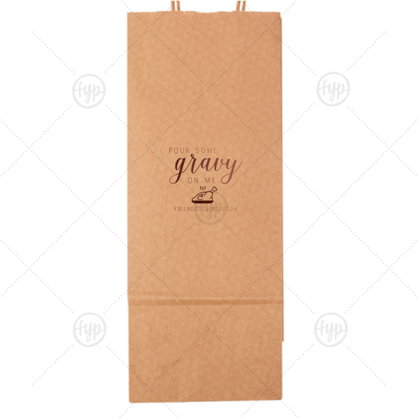 Wine Gift Bag | The ever-popular Kraft Wine Gift Bag with Shiny Merlot Foil Color has a Plated Turkey graphic and is good for use in Food, Thanksgiving themed parties and will look fabulous with your unique touch. Your guests will agree!