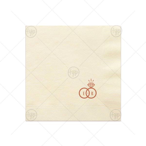 Diamond Ring Initials Napkin