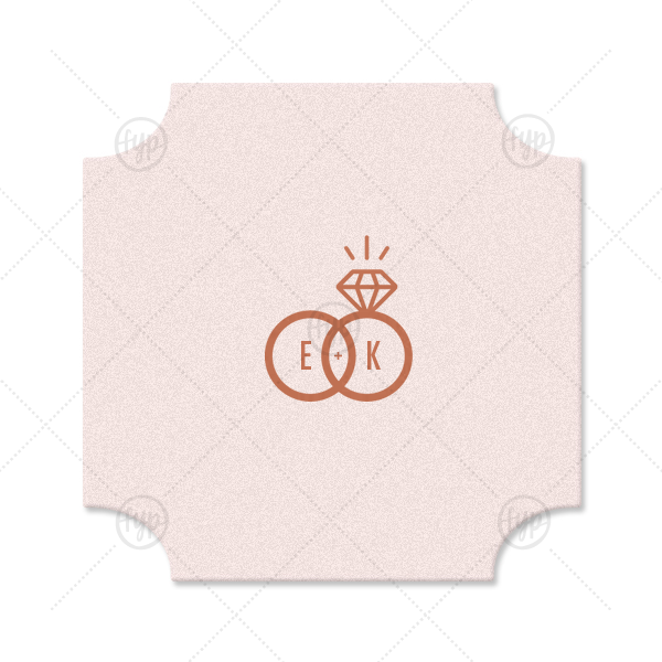 Diamond Ring Initials Coaster