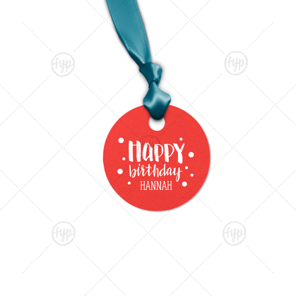 Hand Lettered Happy Birthday Tag | The ever-popular Poptone Peach Round Gift Tag with Matte White Foil has a Happy Birthday graphic and is good for use in Kid Birthday, Birthday themed parties and will impress guests like no other. Make this party unforgettable.