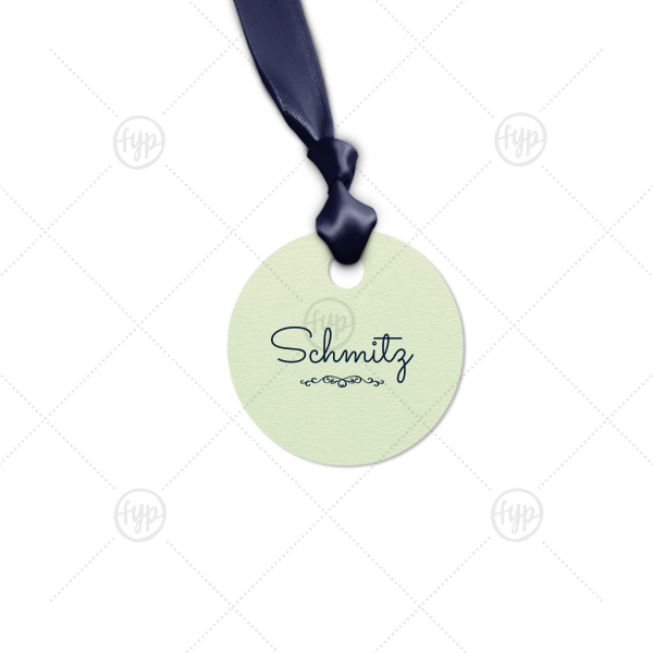 Last Name Tag | ForYourParty's chic Poptone Mint Round Gift Tag with Matte Navy Foil has a Flourish 1 graphic and will give your party the personalized touch every host desires.