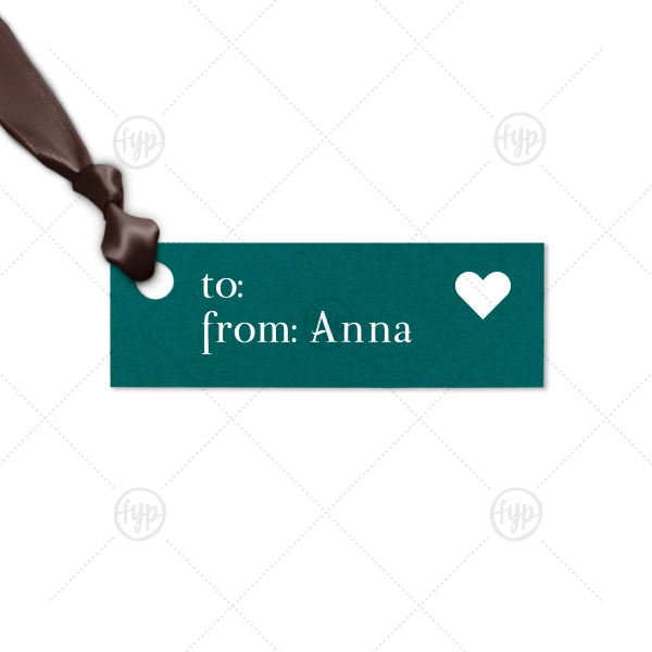 To From Tag | ForYourParty's elegant Poptone Teal/Peacock Rectangle Gift Tag with Matte White Foil has a Solid Heart graphic and is good for use in Wedding, Hearts, Anniversary themed parties and are a must-have for your next event—whatever the celebration!