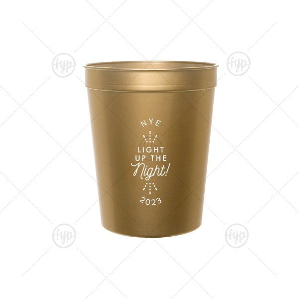 Light Up The Night NYE Stadium Cup | Personalized Gold 16 oz Stadium Cup with Silver Ink Screen Print has a Light the Night graphic and is good for use in Wedding themed parties and will give your party the personalized touch every host desires.