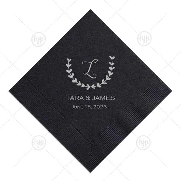 Last Initial Leaf Frame Napkin | Our personalized Black Luncheon Napkin with Satin Sterling Silver Foil Color has a Branch 1 graphic and is good for use in Frames themed parties and can be customized to complement every last detail of your party.