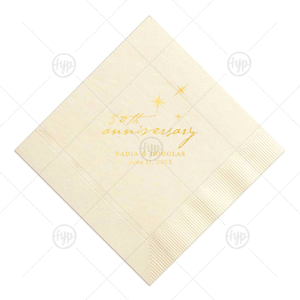 The ever-popular Ivory Luncheon Napkin with Shiny 18 Kt Gold Foil Color has a Twilight graphic and is good for use in Anniversary themed parties and will give your party the personalized touch every host desires.