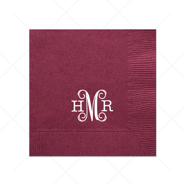 Formal Monogram Napkin | For Your Party's personalized Cranberry Luncheon Napkin with Matte White Foil re a must-have for your next event—whatever the celebration!