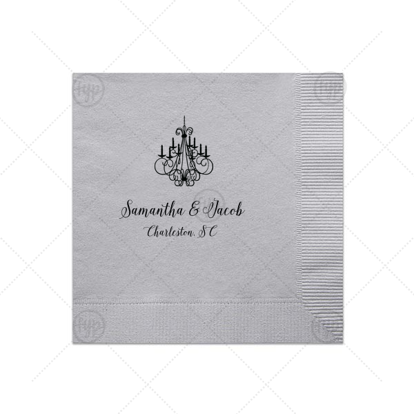 Sweet Chandelier Napkin | For Your Party's chic Dove Gray Luncheon Napkin with Matte Black Foil has a Chandelier graphic and is good for use in fashionable Wedding themed parties and will add that special attention to detail that cannot be overlooked.