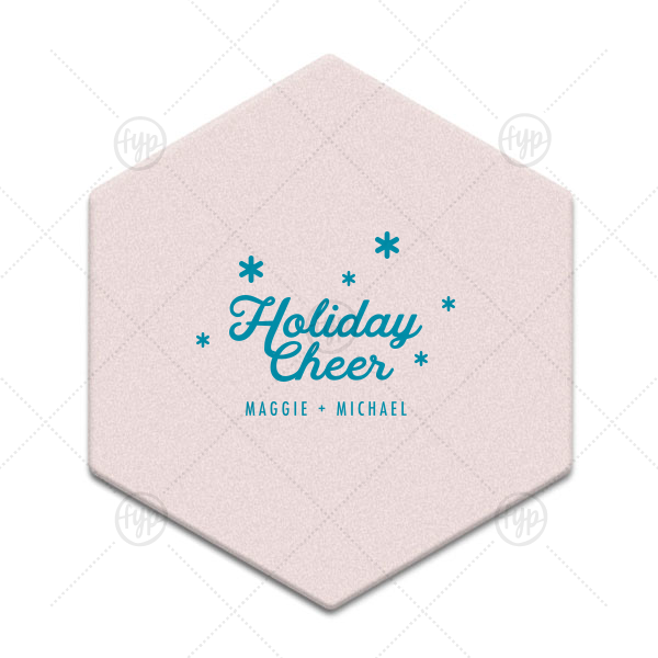 Holiday Cheer Snowflake Coaster  | ForYourParty's chic Silver with Black back Hexagon Coaster with Satin Teal / Peacock Foil Color will look fabulous with your unique touch. Your guests will agree!