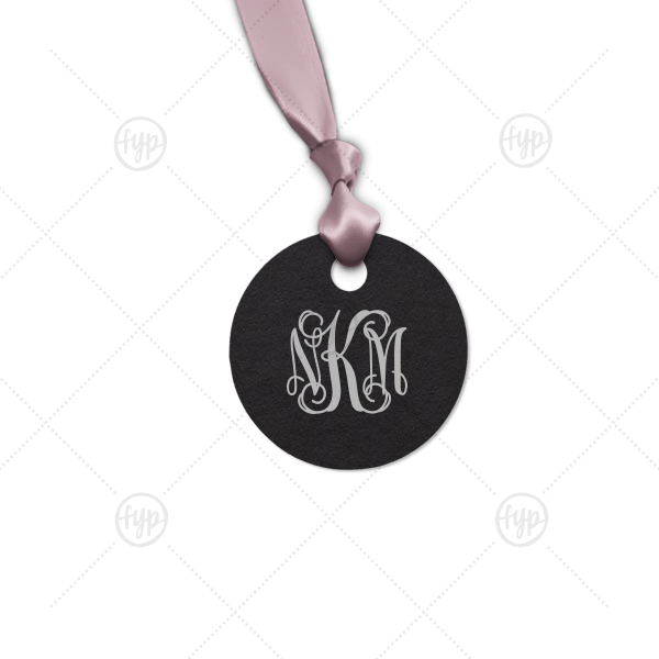 Vines Monogram Tag | Our custom Natural Black Round Gift Tag with Satin Sterling Silver Foil can't be beat. Showcase your style in every detail of your party's theme!