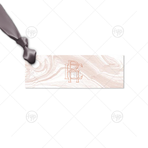 Interlocking Monogram Tag | Our beautiful custom Marble Blush Rectangle Gift Tag with Shiny Rose Gold Foil couldn't be more perfect. It's time to show off your impeccable taste.