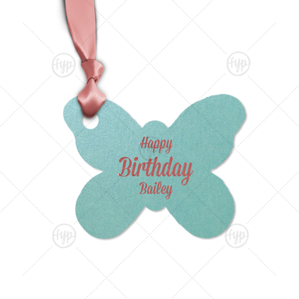 ForYourParty's chic Stardream Tiffany Blue Butterfly Gift Tag with Shiny Rose Quartz Foil are a must-have for your next event—whatever the celebration!