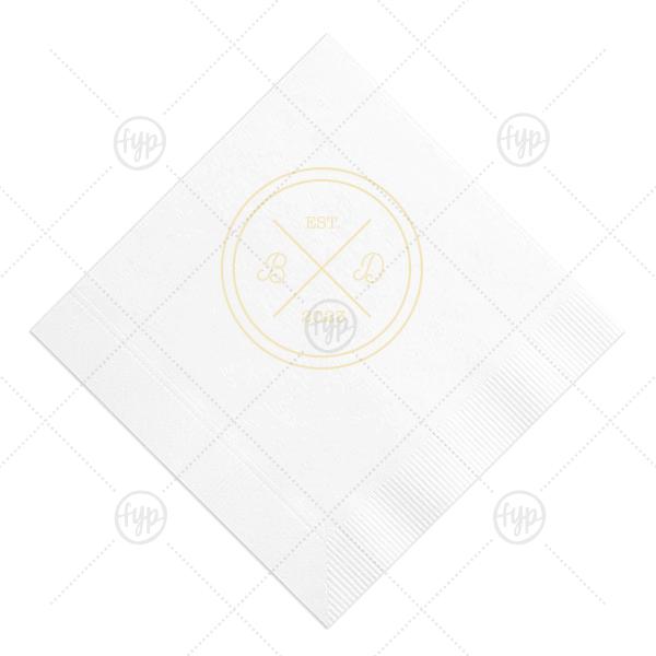 Circle Badge Initials Napkin