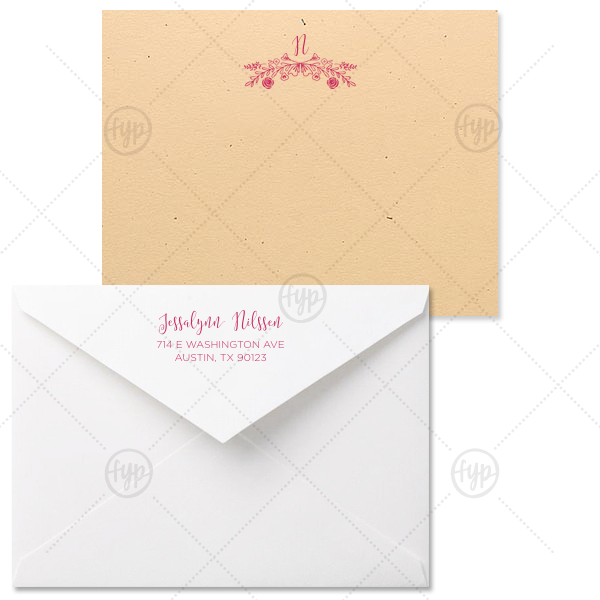 Rose Laurel Note Card | ForYourParty's personalized Natural Sand Grande Card with Matte Fuchsia Foil has a Rose Laurel graphic and is good for use in Wedding, Floral themed parties and will add that special attention to detail that cannot be overlooked.