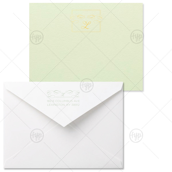 Flourish Frame Note Card | Custom Poptone Mint Grande Card with Shiny 18 Kt Gold Foil and Shiny Green Tea Foil has a Flourish Thank You graphic and a Flourish Accommodations graphic and is good for use in Lovely Press themed parties and can be personalized to match your party's exact theme and tempo.