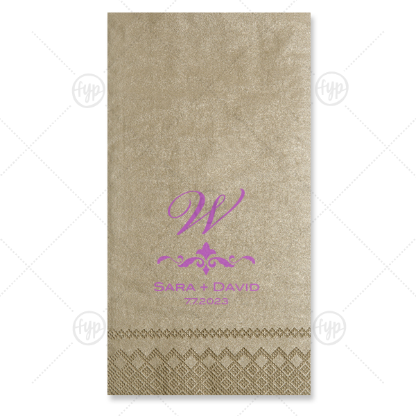 Our custom Champagne Guest Towel with Satin Plum Foil Color has a Fleur de Flourish graphic and is good for use in Accents themed parties and will look fabulous with your unique touch. Your guests will agree!
