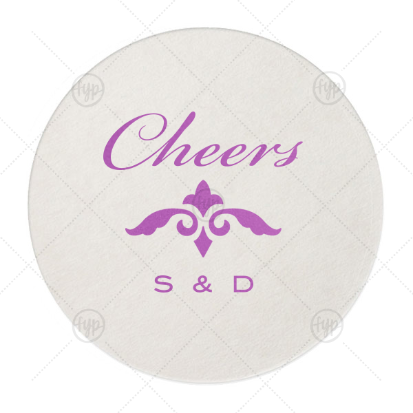 Classic Cheers Initials Coaster | ForYourParty's chic Eggshell Round Coaster with Satin Plum Foil Color has a Fleur de Accent graphic and is good for use in Accents themed parties and will make your guests swoon. Personalize your party's theme today.