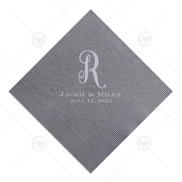 Mono Initial Napkin | Our custom Slate Cocktail Napkin with Matte Dove Grey Foil will make your guests swoon. Personalize your party's theme today.