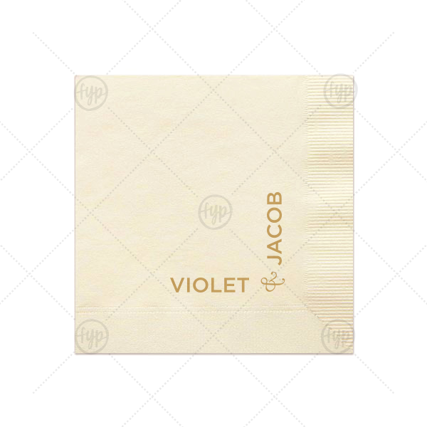 Square Set Up Names Napkin | The ever-popular Ivory Cocktail Napkin with Satin 18 Kt. Gold Foil Color will look fabulous with your unique touch. Your guests will agree!