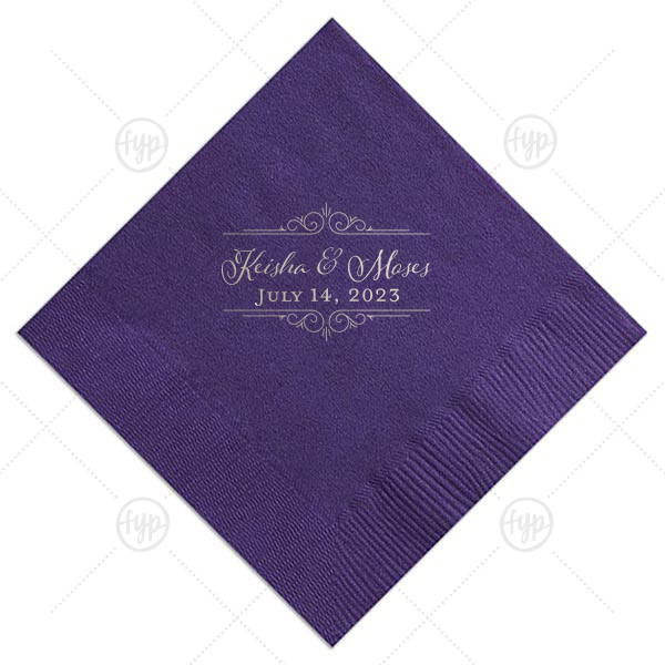 Elegant Frame Napkin | Our custom Amethyst Luncheon Napkin with Shiny Sterling Silver Foil Color has a Scroll Frame graphic and is good for use in Wedding themed parties and will add that special attention to detail that cannot be overlooked.