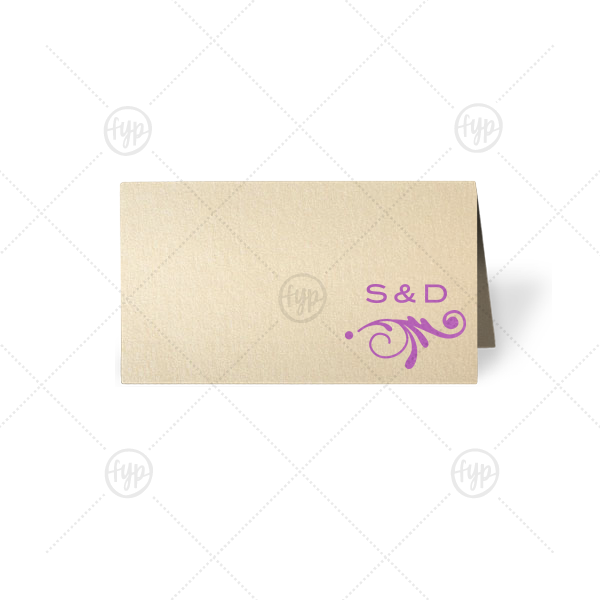 Fancy Accent Place Card | ForYourParty's personalized Stardream Ivory Signature Place Card with Satin Plum Foil has a Decorative Flourish 2 graphic and is good for use in Accents themed parties and can be customized to complement every last detail of your party.