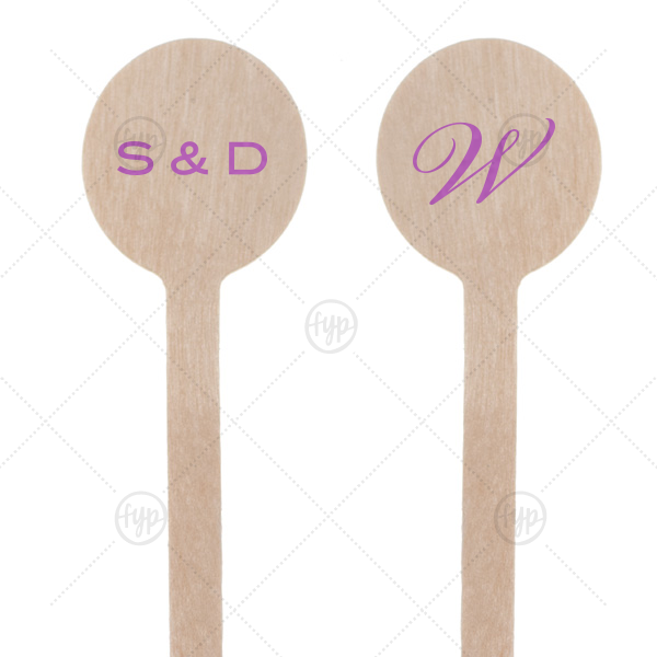 Initials Stir Stick | Custom Satin Plum Round Stir Stick with Satin Plum Foil Color can be personalized to match your party's exact theme and tempo.