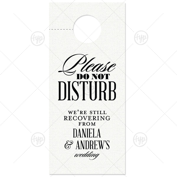 Formal Please Do Not Disturb Door Hanger | ForYourParty's elegant Linen White Door Hanger with Matte Black Foil Color couldn't be more perfect. It's time to show off your impeccable taste.