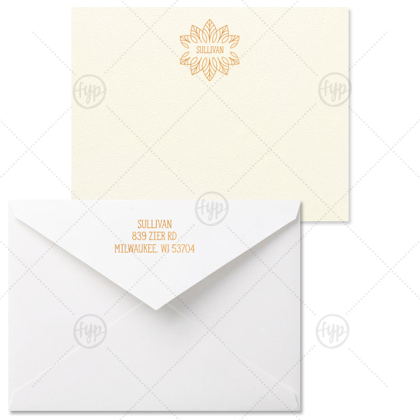 Our beautiful custom Strathmore Ivory Grande Card with Shiny Copper Foil has a Merry Mandala graphic and is good for use in Floral themed parties and can be customized to complement every last detail of your party.