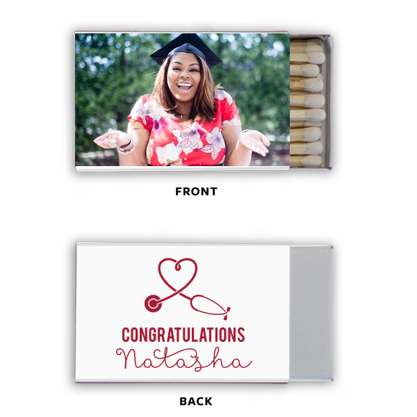 Happy Graduation Photo/Full Color Match | Click Customize More to Upload your photo and make edits. Custom Photo/Full Color Matchbox with Matte Black Ink couldn't be more perfect. It's time to show off your impeccable taste.