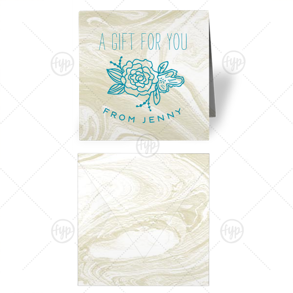 Peony Gift Enclosure | Our custom Marble Sand Gift Enclosure with Satin Teal / Peacock Foil has a Peony Accent graphic and is good for use in Floral  themed parties and for gift giving and can't be beat. Showcase your style in every detail of your party's theme!