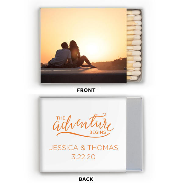 Click Customize More to Upload your Photo and make edits. For Your Party's fun Riviera Photo Matchbox with Matte Tangerine Ink has a The Adventure Begins graphic and is good for use in Wedding and Destination themed parties and couldn't be more perfect. It's time to show off your impeccable taste.