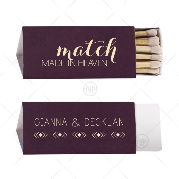 Match Made in Heaven Match | Our custom Natural Amethyst Triangle Matchbox with Matte Ivory Foil Color has a Diamond Stripe graphic and is good for use in Love themed parties and can't be beat. Showcase your style in every detail of your party's theme!