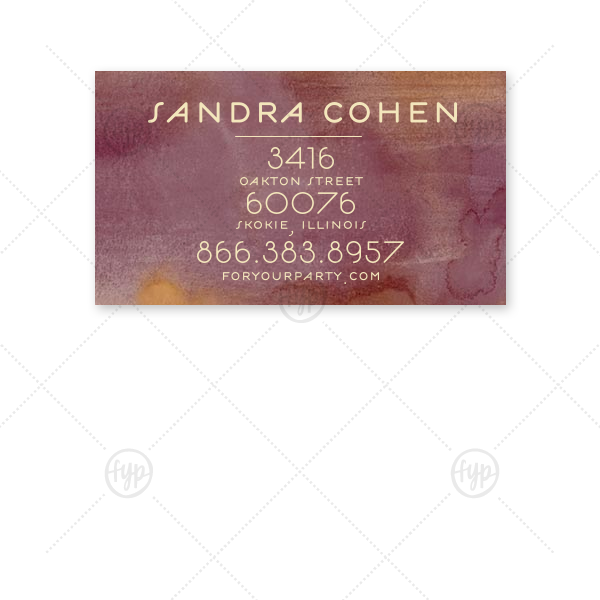 Personalized Watercolor Sangria Business/Calling Card with Matte Ivory Foil will look fabulous with your unique touch. Your guests will agree!