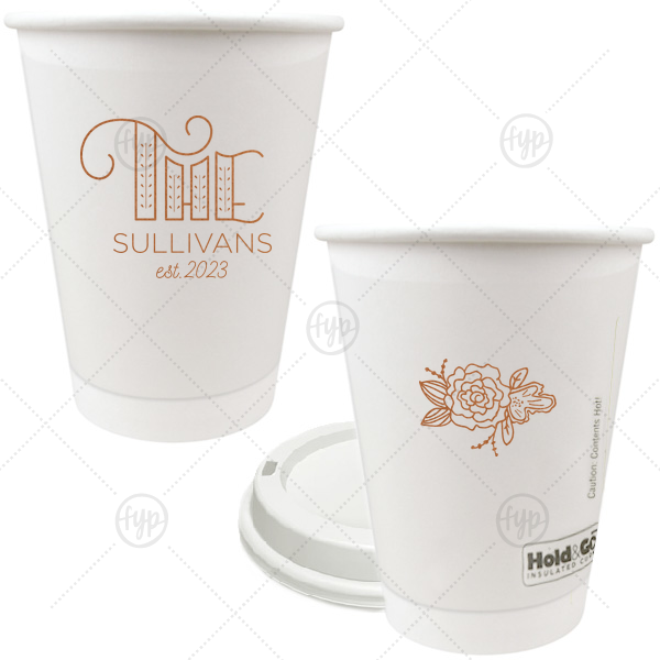 Family Name Paper Cup | ForYourParty's chic Copper Ink 12 oz Paper Coffee Cup with Copper Ink Screen Print has a Accent The graphic and a Peony Accent graphic and is good for use in Floral, Accents themed parties or just for around the home for your house guests and can be customized to complement every last detail of your party.