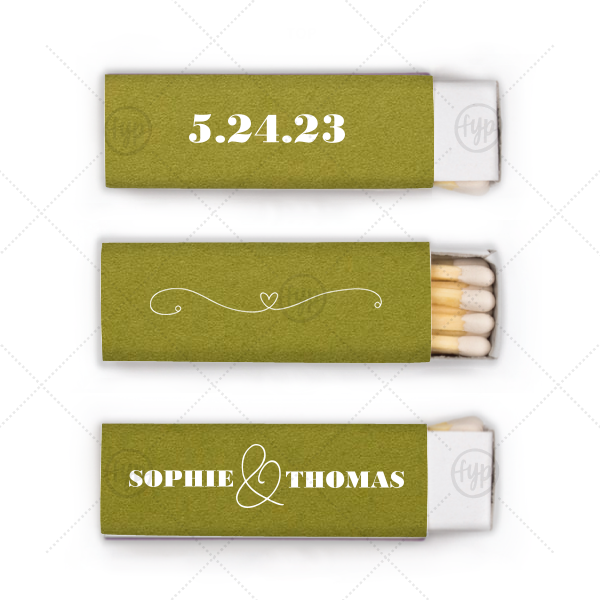 ForYourParty's chic Poptone Dark Olive Lipstick Matchbox with Matte White Foil Color and has a Simple Heart Flourish graphic and is good for use in Wedding and Love themed parties and will give your party the personalized touch every host desires.