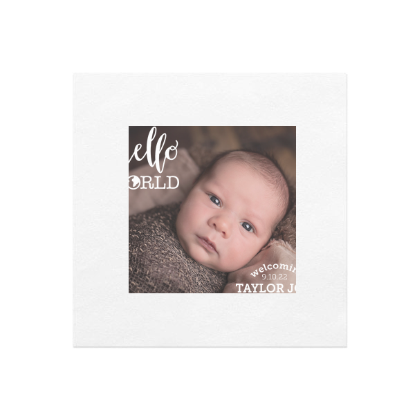 Hello World Baby Photo/Full Color Napkin | Personalized White Borderless Photo/Full Color Napkin with Matte White Ink Digital Ink has a Hello World graphic and is good for use in baby shower and can't be beat. Showcase your style in every detail of your party's theme!