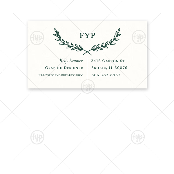 ForYourParty's chic Strathmore White Business/Calling Card with Matte Spruce Foil has a Branch Frame 2 graphic and is good for use for a feminine, earthy business card and will look fabulous with your unique touch. Your guests will agree!