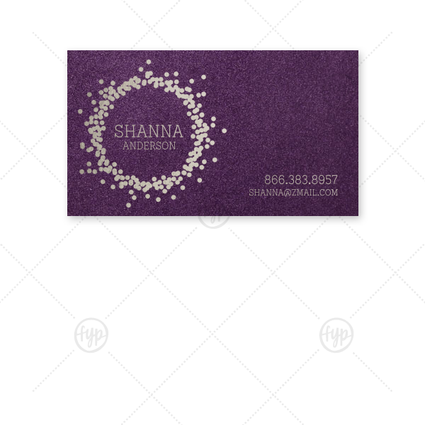 Confetti Frame Calling Card | The ever-popular Stardream Eggplant Business/Calling Card with Shiny Sterling Silver Foil has a Confetti Frame graphic and is good for use in Frames themed parties and are a must-have for your next event—whatever the celebration!