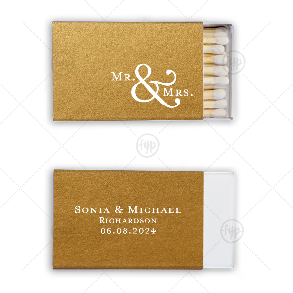 Mr. & Mrs. Match | Our custom Poptone Turquoise Classic Matchbox with Shiny Champagne Foil Color and Shiny Leaf Foil Color will look fabulous with your unique touch. Your guests will agree!