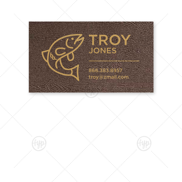 Bass Calling Card | The ever-popular Brown Wood Business/Calling Card with Satin 18 Kt. Gold Foil has a Bass graphic and is good for use to add that personalized touch to your first impression.