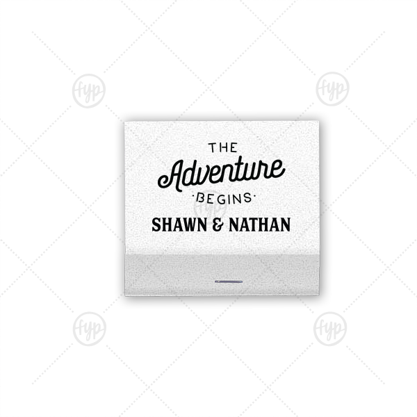 The Adventure Begins Match | Custom Crystal White Shimmer 30 Strike Matchbook with Matte Black Foil Color has a The Adventure Begins graphic and is good for use in Wedding themed parties and can be customized to complement every last detail of your party.