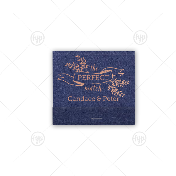 The Perfect Match | For Your Party's chic Navy Shimmer 30 Strike Matchbook with Shiny Sky Blue Foil has a Twig Banner graphic and is good for use in Wedding and Floral themed parties and will add that special attention to detail that cannot be overlooked.