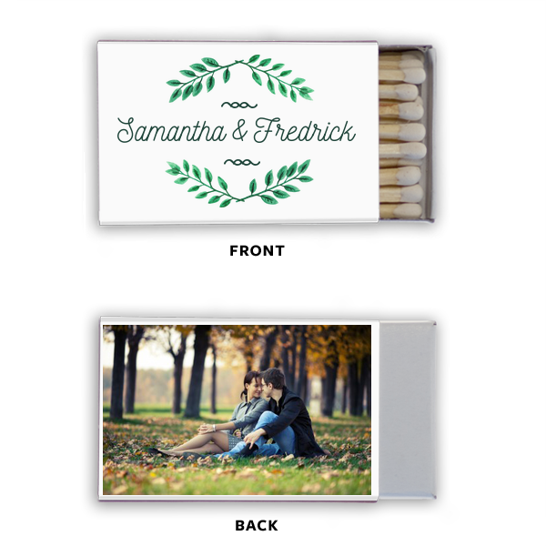 Leaf Frame Photo/Full Color Matchbox | ForYourParty's personalized Photo/Full Color Matchbox with Matte Spruce Print Color can be personalized to match your party's exact theme and tempo.