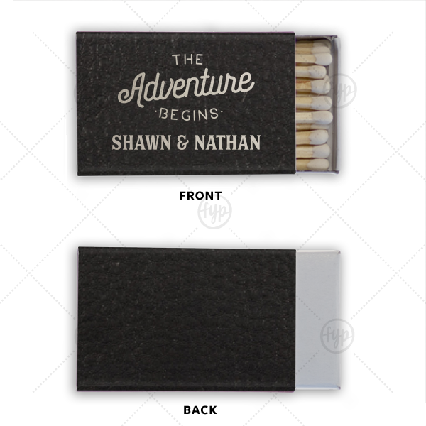 The Adventure Begins Leather Match | Our custom Black Classic Leather Matchbox with Shiny Sterling Silver Foil has a The Adventure Begins graphic and is good for use in Wedding themed parties and will make your guests swoon. Personalize your party's theme today.