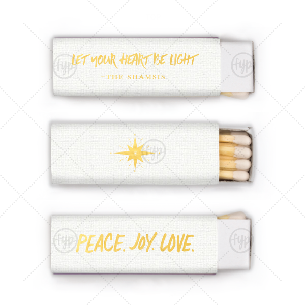 Peace. Joy. Love. Match | ForYourParty's personalized Linen White Lipstick Matchbox with Shiny 18 Kt Gold Foil has a Peace Joy Love graphic and a North Star graphic and is good for use in Christmas and Holiday themed parties and will impress guests like no other. Make this party unforgettable.