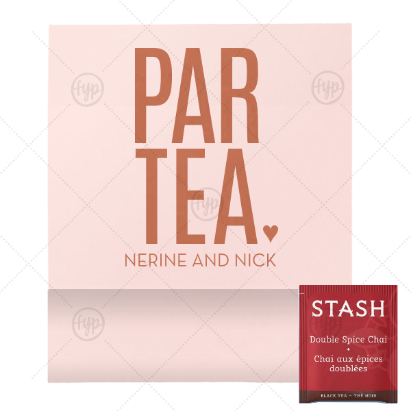 ParTea Favor | ForYourParty's chic Poptone Ballet Pink Tea Favor with Satin Copper Penny Foil Color will impress guests like no other. Make this party unforgettable.