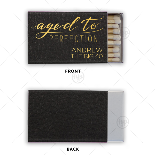 Aged To Perfection Match | Our custom Black Classic Leather Matchbox with Shiny 18 Kt Gold Foil has an Aged to Perfection graphic and is good for use in Birthday and Milestone parties and will look fabulous with your unique touch. Your guests will agree!