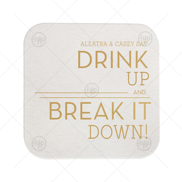 Industrial Mod Wedding Coaster | Our beautiful custom Eggshell Square Coaster with Satin 18 Kt. Gold Foil Color can be personalized to match your party's exact theme and tempo.