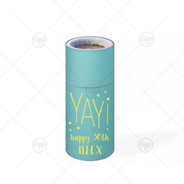 ForYourParty's personalized Poptone Tiffany Blue Barrel Matchbox with Matte Mimosa Yellow Foil has a Yay graphic and is good for use in Birthday or general Celebration parties and can't be beat. Showcase your style in every detail of your party's theme!
