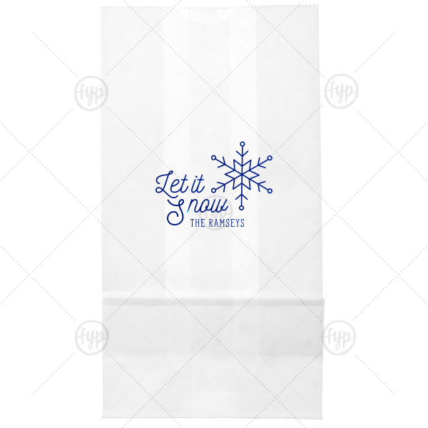 Let It Snow Bag | ForYourParty's chic White Goodie Bag with Shiny Lavender Foil Color has a Snowflake graphic and is good for use in Holiday, New Years, Christmas themed parties and can't be beat. Showcase your style in every detail of your party's theme!